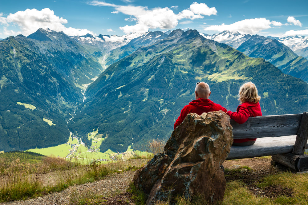 Couple looking out at mountain
